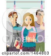 Clipart Of A Teenage Girl And Boys Riding A Train Royalty Free Vector Illustration