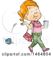 Clipart Of A Teenage Girl Littering Royalty Free Vector Illustration