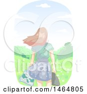Clipart Of A Rear View Of A Sketched Teenage Girl Holding A Map In A Windy Meadow Royalty Free Vector Illustration