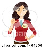 Clipart Of A Teenage Girl Wearing A Student Councel Button And Gesturing To Herself Royalty Free Vector Illustration