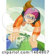 Clipart Of A Teenage Girl Free Falling With A Skydiving Instructor Royalty Free Vector Illustration by BNP Design Studio