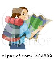 Clipart Of A Teenage Girl Reading A Map And Wearing A Backpack Royalty Free Vector Illustration by BNP Design Studio