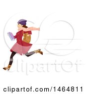 Clipart Of A Teenage Girl In Winter Apparel Running To School Royalty Free Vector Illustration