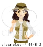 Clipart Of A Teenage Girl Explorer Pointing At Herself Royalty Free Vector Illustration by BNP Design Studio