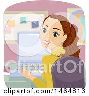 Poster, Art Print Of Teenage Girl Looking Back And Using A Laptop Computer