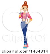 Clipart Of A Teenage Girl In A K Pop Outfit Royalty Free Vector Illustration by BNP Design Studio