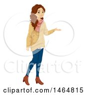 Clipart Of A Presenting Teenage Girl In A Sweater Royalty Free Vector Illustration