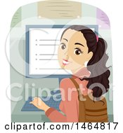 Clipart Of A Teenage Girl Looking Back And Using A Desktop Computer Royalty Free Vector Illustration