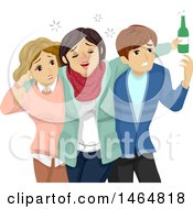 Clipart Of A Teenage Couple Escorting Their Drunk Friend Royalty Free Vector Illustration
