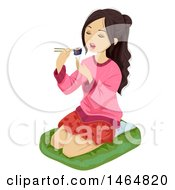 Clipart Of An Asian Teenage Girl Eating Sushi Royalty Free Vector Illustration by BNP Design Studio
