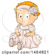 Clipart Of A Happy Red Haired White Toddler Girl In A Baptismal Dress Royalty Free Vector Illustration