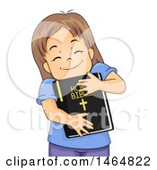 Clipart Of A Happy Brunette White Girl Hugging A Bible Royalty Free Vector Illustration
