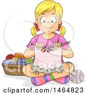 Clipart Of A Happy Blond White Girl Knitting On The Floor Royalty Free Vector Illustration