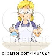 Clipart Of A Happy Blond White Girl Holding A Science Flask And Test Tube Royalty Free Vector Illustration