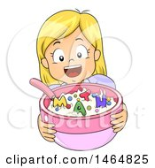 Poster, Art Print Of Happy Blond White Girl Holding Out A Bowl Of Cereal With Math Letters