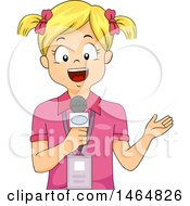Clipart Of A Blond White Reporter Girl Wearing An Id And Speaking Into A Microphone Royalty Free Vector Illustration