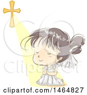 Clipart Of A Sketched Girl Kneeling And Praying After Her First Communion Royalty Free Vector Illustration