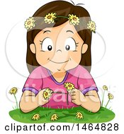 Clipart Of A Happy Brunette White Girl Making A Flower Chain Royalty Free Vector Illustration