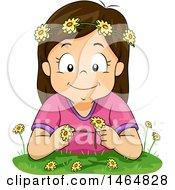 Happy Brunette White Girl Making A Flower Chain