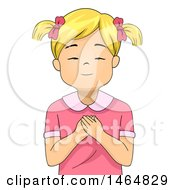 Clipart Of A Blond White Girl Praying Royalty Free Vector Illustration
