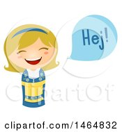 Poster, Art Print Of Girl In A Traditional Outfit Saying Hi In Swedish
