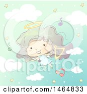 Clipart Of A Sketched Angel Girl Flying With A Harp And Music Notes Royalty Free Vector Illustration