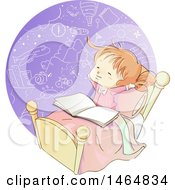 Clipart Of A Sketched Red Haired White Girl Reading A Book And Imagining In Bed Royalty Free Vector Illustration by BNP Design Studio