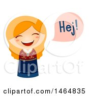Clipart Of A Girl In A Traditional Outfit Saying Hi In Danish Royalty Free Vector Illustration