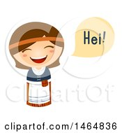 Clipart Of A Girl In A Traditional Outfit Saying Hi In Finnish Royalty Free Vector Illustration