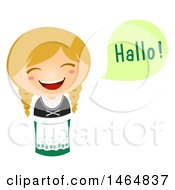 Clipart Of A Girl In A Traditional Outfit Saying Hi In German Royalty Free Vector Illustration