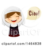 Clipart Of A Girl In A Traditional Outfit Saying Hi In Italian Royalty Free Vector Illustration