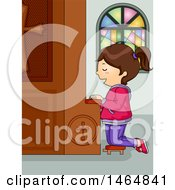 Clipart Of A Brunette White Girl Kneeling And Praying At A Church Confession Box Royalty Free Vector Illustration