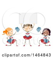 Clipart Of A Group Of Girls Cheerleading And Holding A Sign Royalty Free Vector Illustration