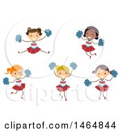 Clipart Of A Group Of Cheerleader Girls Royalty Free Vector Illustration