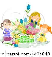 Clipart Of A Group Of Girls Picking Flowers From A Garden Royalty Free Vector Illustration