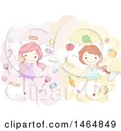 Clipart Of A Stick Girls With Candy And Healthy Foods Royalty Free Vector Illustration