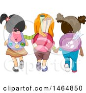 Rear View Of A Group Of Girls Wearing Backpacks