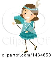 Clipart Of A Flapper Girl In A Teal Dress Royalty Free Vector Illustration by BNP Design Studio