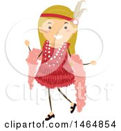 Clipart Of A Flapper Girl In A Red Dress Royalty Free Vector Illustration by BNP Design Studio