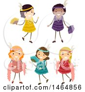 Clipart Of A Group Of Girls In Flapper Dresses Royalty Free Vector Illustration by BNP Design Studio