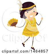 Clipart Of A Flapper Girl In A Yellow Dress Royalty Free Vector Illustration by BNP Design Studio