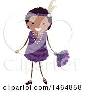 Clipart Of A Flapper Girl In A Purple Dress Royalty Free Vector Illustration by BNP Design Studio