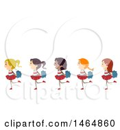 Clipart Of A Group Of Cheerleader Girls Walking In Line Royalty Free Vector Illustration