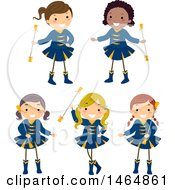Clipart Of Majorette Dancer Girls With Batons Royalty Free Vector Illustration