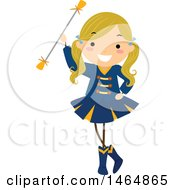 Clipart Of A Majorette Dancer Girl With A Baton Royalty Free Vector Illustration