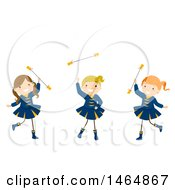 Clipart Of A Group Of Majorette Dancer Girls Twirling Batons Royalty Free Vector Illustration