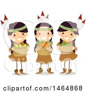 Clipart Of A Group Of Native American Girls Holding Harvested 3 Sister Crops Royalty Free Vector Illustration