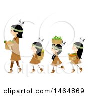 Clipart Of A Group Of Native American Indian Girls And A Woman With Harvested Foods Royalty Free Vector Illustration