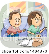 Cartoon Couple Signing Divorce Papers