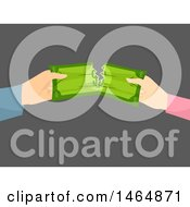 Clipart Of Hands Of A Couple Splitting Money Royalty Free Vector Illustration